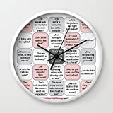 Society6 Female Armor Rhetoric Bingo Wall Clock White Frame, Black Hands