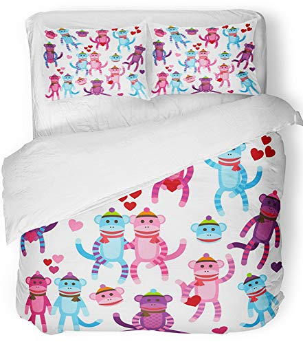 Sock Monkey Bedding Set - Emvency 3 Piece Duvet Cover Set Breathable Brushed Microfiber Fabric Pink Animal Collection of Valentine's Day Sock Monkeys Valentines Vintage Boy Bedding Set with 2 Pillow Covers Full/Queen Size