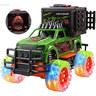 WolVolk Off-Road SUV Jungle Dinosaur Car - Friction Powered Dino Cage Truck w/ Lighted Wheels & Sounds - Big Pull Back Action Toy Vehicle for Boys & Girls - Release The Dinosaur from its Cage