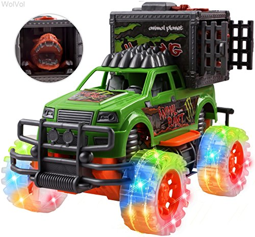 Car Dinosaur (WolVol Off-Road SUV Jungle Dinosaur Car Toy with Lights and Sounds, Friction Powered - Release the Dinosaur from its Cage)