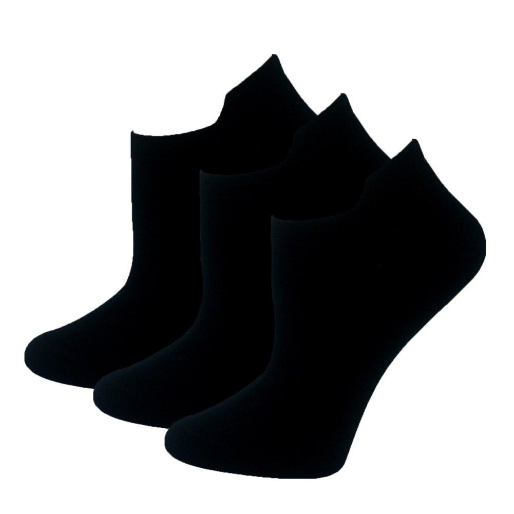 Sports No Show Breathable Socks Anti-skid Cycling Low-Cut Socks Cotton Hardwearing Thin Socks for Women Black 3 Pairs WXXM