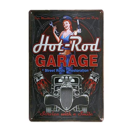 DL- hot Rod Garage Metal Painting Vintage Crosses Home Wall Decor pin up Poster Antique Tray