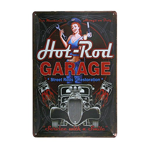 DL- hot rod garage Metal painting vintage crosses home wall decor pin up poster antique tray house rules wall (Hot Rod Garage)