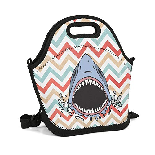Milr Gile Custom Lunch Box Great White Shark Bite Resuable Insulated Thermal Tote Lunch Bag