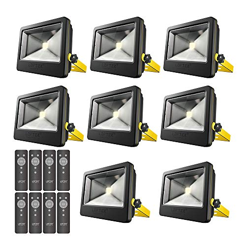 LOFTEK 50W Daylight White Floodlight,8-Pack, Super Bright Outdoor LED Flood Light, 6500 LM, High Powered Waterproof Security Spotlight with Timer Function, Black