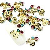 QINF 10PCS Pirate Skull Shape Zircon Diamond Studded Nail Art Alloy Decorations