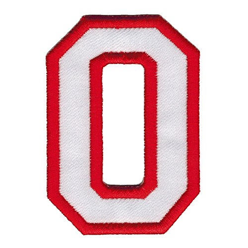 """Letter """"O"""" English Alphabet Character White and Red 3 Inches Tall DIY Embroidered Iron on / Sew on Patch #0091"""
