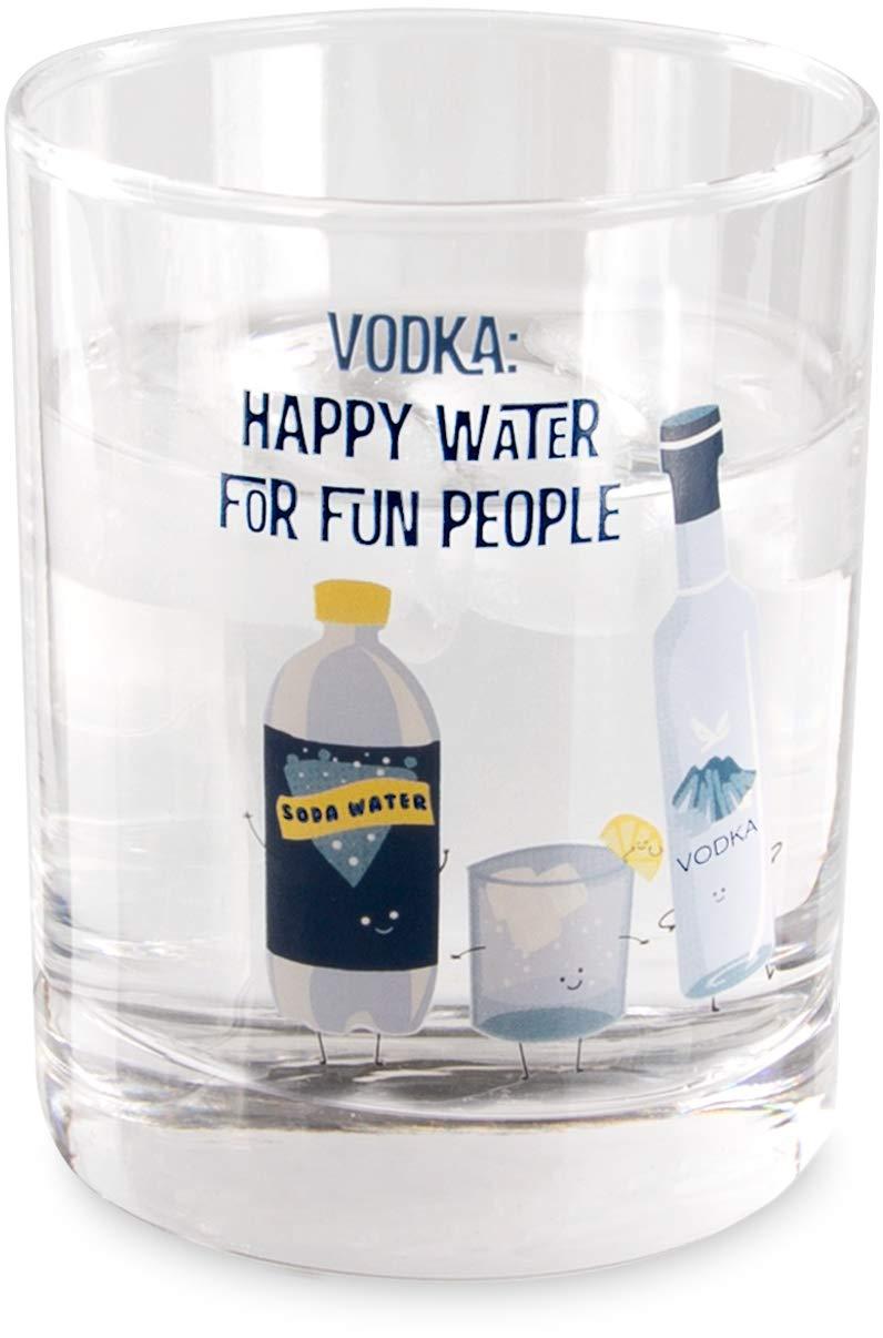 11 oz Low Ball Rocks Glass Pavilion Gift Company 74874 Vodka Happy Water For Fun People Pavilion