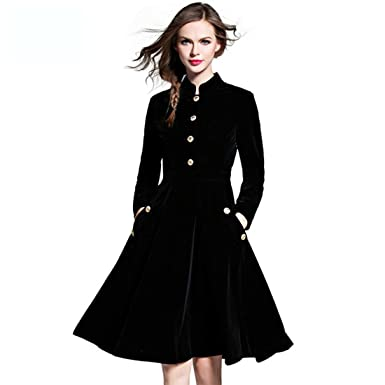 Qualified Vintage Velvet British Style Dress Female A-Line Midi Winter Dress  Stand Collar Full 88949281470b