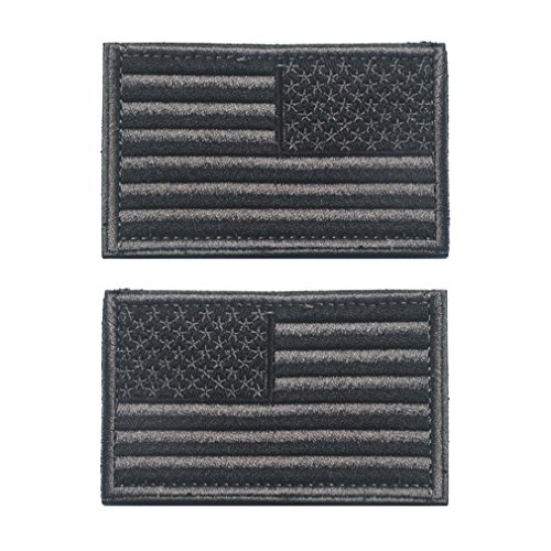 WZT 2 Pcs Regular and Reverse American Flag Embroidered Patches ()