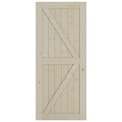 SmartStandard 36in x 84in Sliding Barn Wood Door Pre-Drilled Ready to Assemble