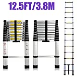 12.5 FT Aluminum Telescoping Extension Ladder Extendable Folding Multi-Purpose 12 Steps Max 330 lb Capacity EN131 Certifiacted