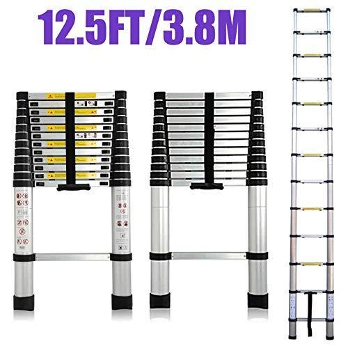 - 12.5 FT Aluminum Telescoping Extension Ladder ExtendableFolding Multi-Purpose 12 Steps Max 330 lb Capacity EN131 Certifiacted