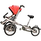 Tagalan 3 Wheels Folding Bicycle 16inch Pushchair Mother Baby Stroller Bike Carrier 3 in 1 With Canopy