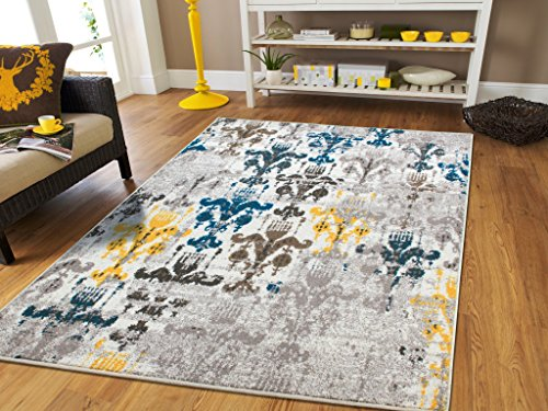 New Fashion Faded Style Luxury Rugs for Bedroom for Teens Modern Rugs 5x7 Contemporary Rug 5x8 Kitchen Rugs with Blue Grey Brown Yellow 5x7 Rugs For Living Room Under 50, 5x8 Rug (Yellow And Grey Area Rug)