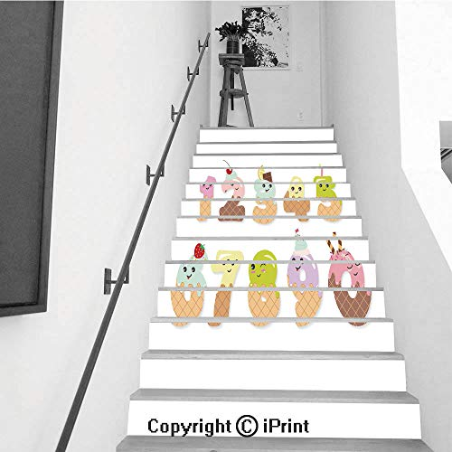 baihemiya stickers 13Pcs Stair Sticker Decals 3D Creative Building Stair Risers Tiles Wallpaper Mural Self-Adhesive,Cute Kawaii Numbers Made of Sweets Funny Characters for Kids]()