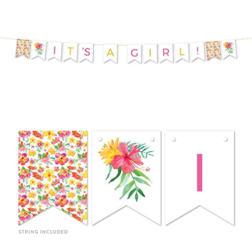 Andaz Press Tropical Floral Garden Party Baby Shower Collection, Hanging Pennant Party Banner with String, It's a Girl!, 5-Feet, 1 Set ()
