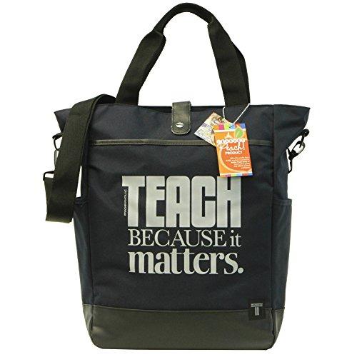 Teacher Peach Commuter Tote Bag - Convertible Cross Body Bag with Pockets, Organizers, Zippers, and Laptop Sleeve - Best as Teacher Appreciation or New School Teacher Gift - Navy