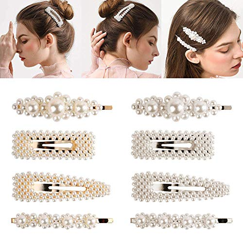 ERYHCFG 8 Pieces Pearl Hairpin Decoration-Wedding Bride-Tie Birthday Valentines Day Gifts Artificial Pearl Hairpin Handmade Bridesmaid Hairpin Womens Hair Accessories Tiara Style Tool Accessories