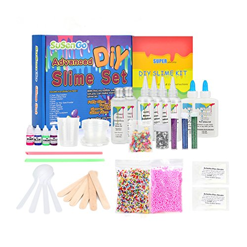 SuSenGo Slime Kit Supplies Stuff, with Glow in The Dark, Containers, Activators, Glue, Foam Beads, Glitter Powders and Extras. Slime Making Kit for Girls Boys Kids, Recipes -