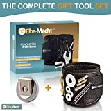 Elba-Macht Magnetic Wristband W/ Strong Magnets for Holding Screws, Nails, Drill Bits. Free Bonus : Magnetic Belt Clip ! The Complete Tool Gift Set Idea for DIY Work for Handyman, Men / Women (Black)