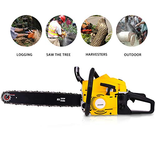 Tomasar Chainsaw 20″ 58CC 4.0 HP Gas Powered Chain Saw 2 Stroke Handed Petrol Chainsaw with Smart Start Super Air Filter System and Automatic Oiling and Tool Kit(US Stock) (Style2-52 CC(Yellow))
