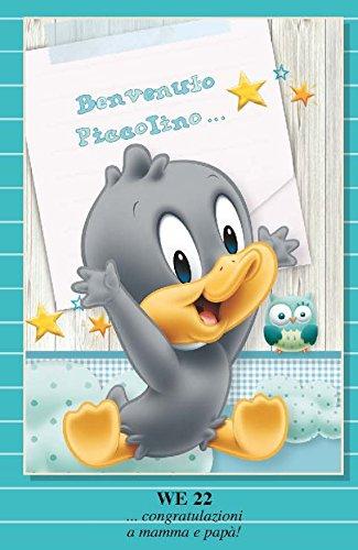 Tarjeta Felicitación nacimiento niño celeste Duffy Duck Baby y ...