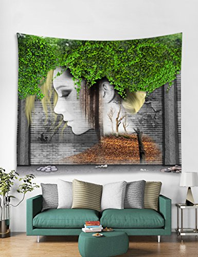 Tapestry, Beautiful Oriental Girl, Leaves Decor Collection, Pattern with Vines Leaves Nature Curvy Branches Plants Garden Floral Illustrated Art for Bedroom Living Room Dorm - 80