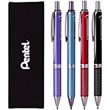 Pentel Energel Alloy RT Gel Pen Medium Metal Tip Ballpoint Pen (Pack of 4 Pens))