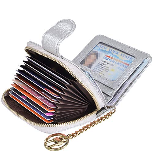 - Beurlike Women's RFID Credit Card Holder Organizer Case Leather Security Wallet (Upgrade a (10 Accordion/Key Ring) - Silver)