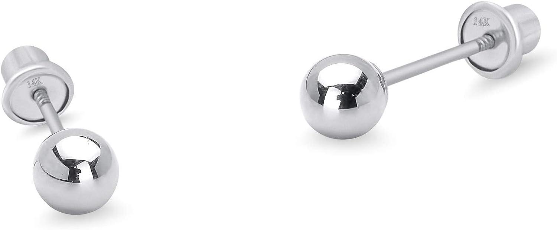 14k White Gold 2-6mm Plain Hollow Gold Ball Children Screw back Baby Girls Stud Earrings 51vjr-CWI3L
