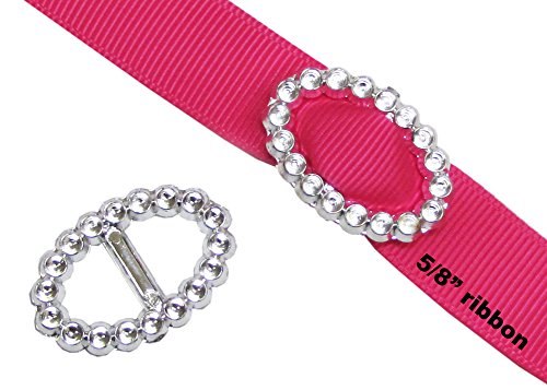 HipGirl Silver Resin Ribbon Slider Buckles for Wedding Invitations, Card Craft (50pc Oval Buckles for 5/8