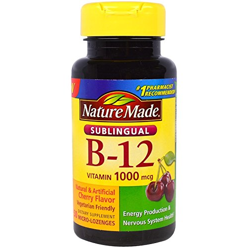 Nature Made B-12 1000 mcg Micro-Lozenges Cherry Flavor 50 ea (Pack of 2) ()