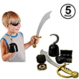 Funny Party Hats Pirate Accessories - 5 Pc Set - Pirate Hook - Pirate Sword - Pirate Treasure Chest - Pirate Toys