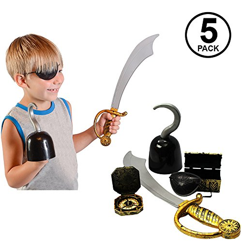Funny Party Hats Pirate Accessories - 5 Pc Set - Pirate Hook - Pirate Sword - Pirate Treasure Chest - Pirate Toys -