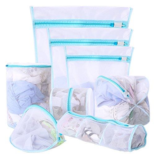Bolsas de lavandería multiusos de malla, reutilizables, con cremallera, para colada de ropa delicada (ropa interior de mujer, lencería, calcetines), ...