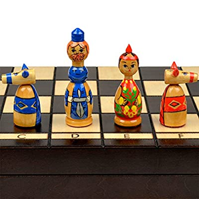 "Russian ""Babushka"" Blue and Red International Chess Set - 16.5"""