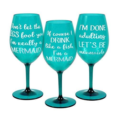 Mermaid Sayings Shatterproof Plastic Wine Glass, Set of 3