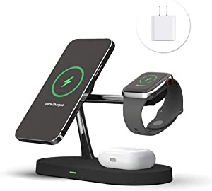 PONKET 3 in 1 Magnetic Wireless Charger Station Compatible with MagSafe |20W QC3.0 Adapter | Fast Wireless Charging Stand for iPhone 12/12 Pro Max/Mini/AirPods Pro/AirPods 1/2 iwatch Series -Black