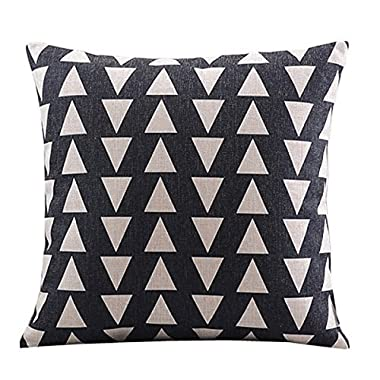 Create For-Life Cotton Linen Decorative Pillowcase Throw Pillow Cushion Cover Square 18 Retro Black Up & Down Triangle by Hmlover(TM)