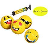 4 pcs Toddler Emoji Soccer Balls with 1 Pump Kids for Size 2 Best Ball for Skills - Indoor and Outdoor Use - For Girls and Boys - Ships Deflated By Ishineton