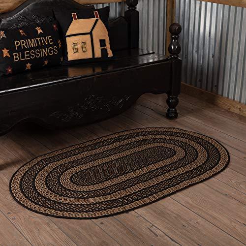 VHC Brands 8711 Classic Country Primitive Flooring-Farmhouse Jute Black Rug, 36 x 60, Non-Stenciled
