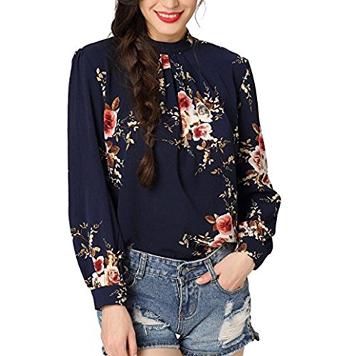 Price comparison product image Dainzuy Women's Casual Floral Printed O-Neck Long Sleeve Shirt Blouse Tops (M,  Navy)