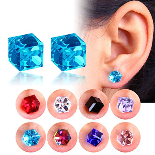 SCASTOE Women Girls 1 Pairs Weight Loss Magnetic Water Cube Health Magnet Ear Stud Earing (Colorful) by SCASTOE (Image #2)