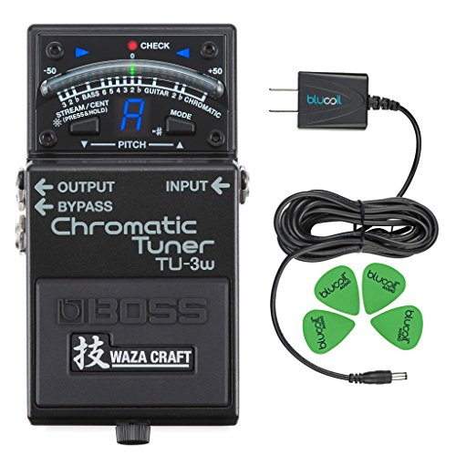 Boss TU-3W Waza Craft Chromatic Tuner - INCLUDES - Blucoil Power Supply Slim AC/DC Adapter for 9 Volt DC 670mA AND 4 Pack of Guitar Picks by blucoil