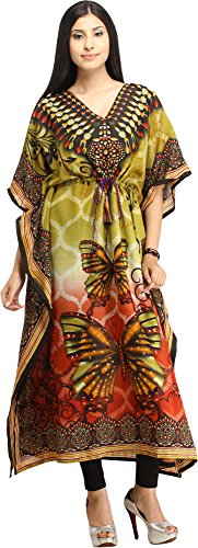 Exotic India Butterflies Digital-Printed Kaftan with Do - Color Green and Brown