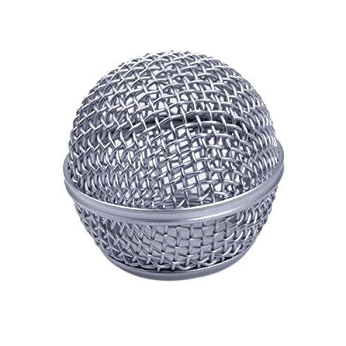 [해외]Healifty 마이크 교체 석쇠 마이크 메시 볼 헤드 마이크 액세서리 DIY 용 SHURE SM58 BETA58 (실버) / Healifty Microphone Replacement Grille Microphone Mesh Ball Head Microphone Accessories SHURE SM58 BETA58 (Silver) for DIY
