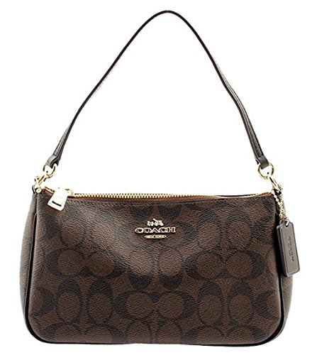 COACH Signature Coated Canvas Top Handle Crossbody F58321 (Brown/Black) by Coach