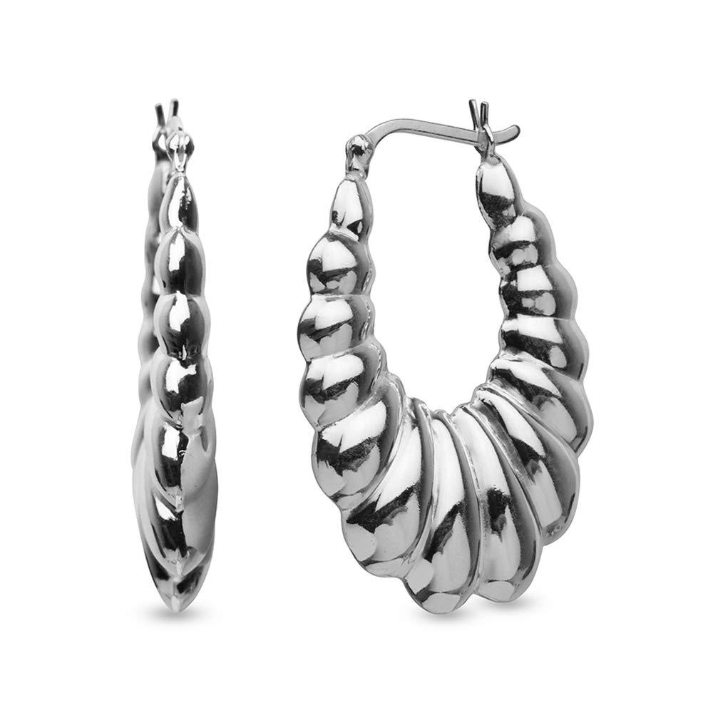 LeCalla Women's Sterling Silver Jewelry Large Shrimp Hoop Earrings