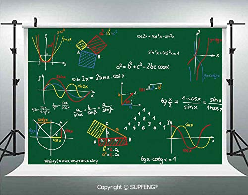 Photography Background Green Blackboard with Colored Formula and Sketches Geometry 3D Backdrops for Photography Backdrop Photo Background Studio Prop